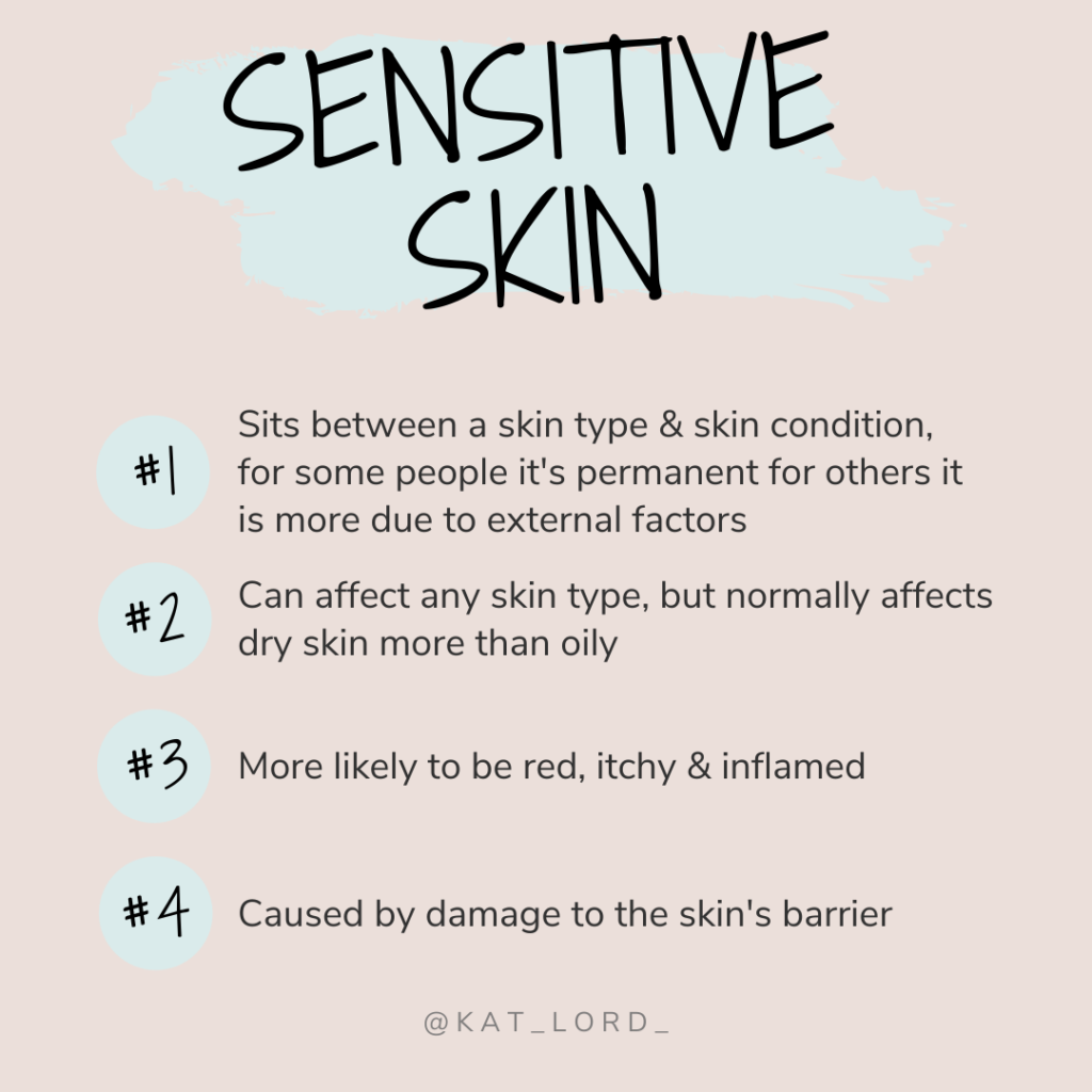 Signs of sensitive skin include -  Redness and irritation Acne when skin is not generally oily Skin 'flaring up' when trying new products Skin behaving differently in different seasons