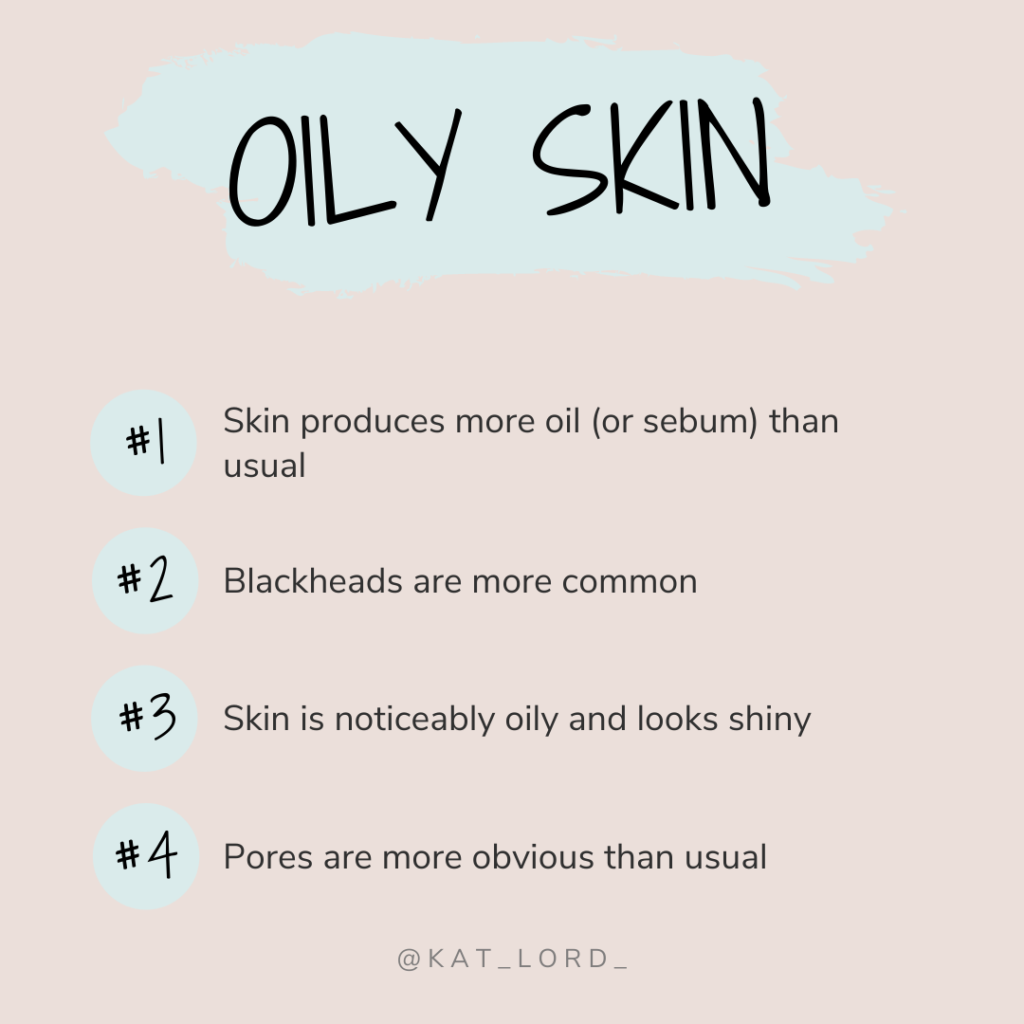 Signs of oily skin can include -  Shininess within an hour of washing your face Larger than 'normal' pores Blackheads can be present Breakouts may be more regular
